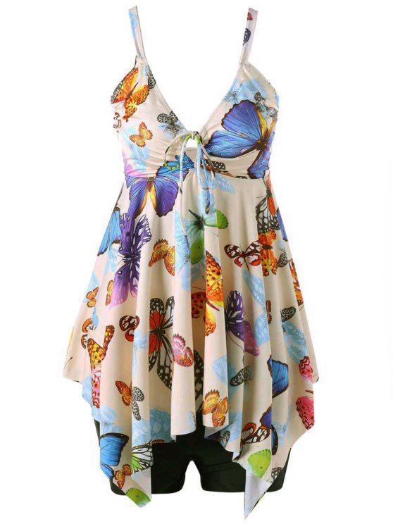 Costume Da Bagno Plus Size Stampato Farfalla Con Orlo A Fazzoletto - Albicocca 5XL