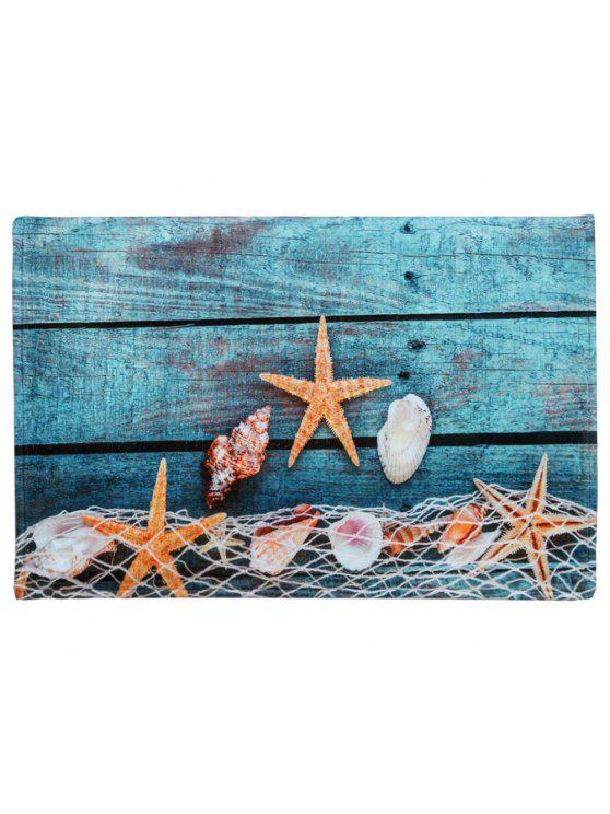 Fashion Starfish Shell C Fleece Large Size Bath Rug Lake Blue W16 Inch L24