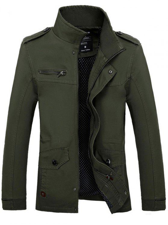 Stand Collar Side Pocket Design Graphic Print Jacket ARMY GREEN ...