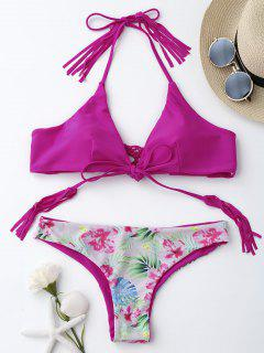 Macrame Tropical Print Wrap Bikini Set - Rose Red M