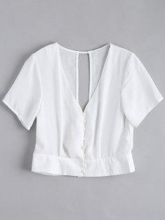 Cut Out Button Up Chiffon Top - White Xl