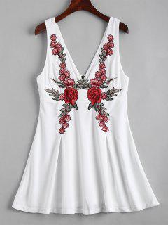 Back Zipper Floral Embroidered Mini Dress - White S