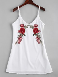 Lace Panel Floral Embroidered Slip Dress - White M