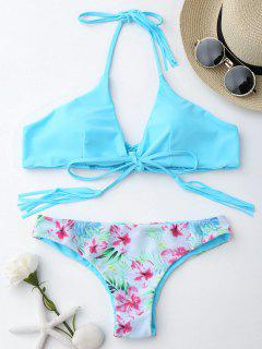 Macrame Tropical Print Wrap Bikini Set - Blue M