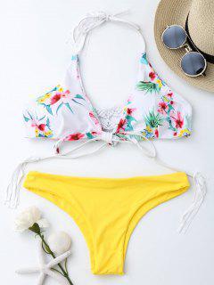 Macrame Tropical Print Wrap Bikini Set - Yellow M