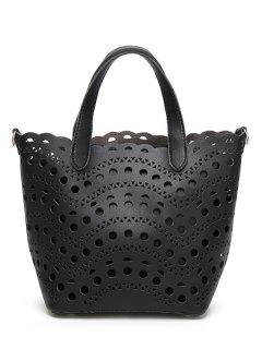 Cut Out Handbag With Interior Bag - Black