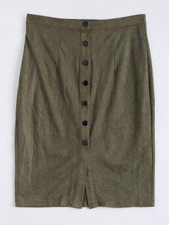 Faux Suede Button Up Pencil Skirt - Army Green S