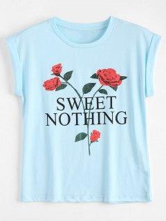Cotton Letter Floral T-Shirt - Light Blue Xl