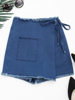 Asymmetrical Cutoffs Denim Wrap Shorts - Denim Blue L
