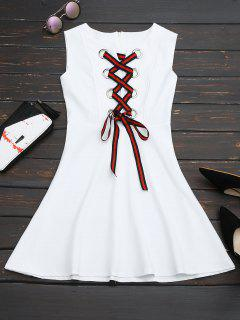 Lace Up Sleeveless Flare Dress - White L