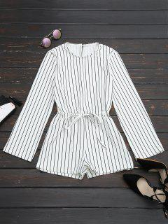 Slit Sleeve Drawstring Striped Romper - Black Stripe