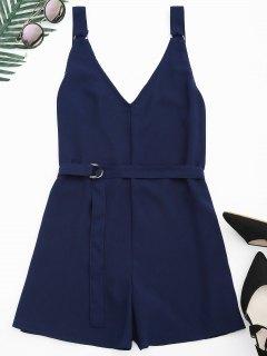 Backless Belted Chiffon Romper - Purplish Blue Xl