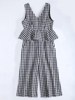 Sleeveless Flounce Checked Jumpsuit - Checked Xl