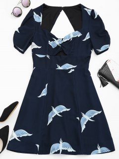 Cut Out Bird Graphic A-Line Dress - Purplish Blue L
