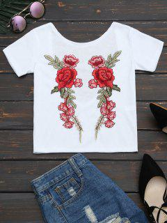 Floral Patched Ribbed Knitted Tee - White S