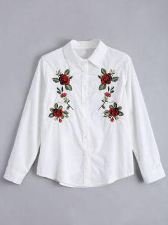Bluse Mit Blumen Patch Und Knöpfe - Weiß M