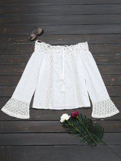 Off The Shoulder Lace Panel Tassels Blouse - White M