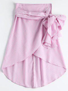 High Waist Ruffled Striped Asymmetric Skirt - Pink Xl