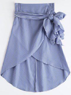 High Waist Ruffled Striped Asymmetric Skirt - Blue Xl