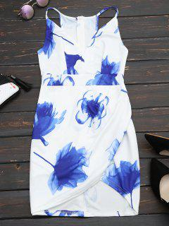 Floral Print Cut Out Cami Fitted Dress - White L