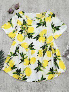 Round Collar Lemon Print Blouse - White M