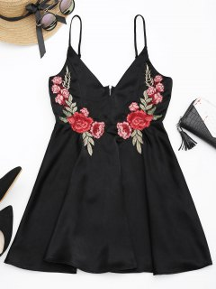 Floral Embroidered Patched Slip A-Line Dress - Black L