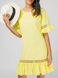 Ruffles Sheer Casual Dress - Yellow L