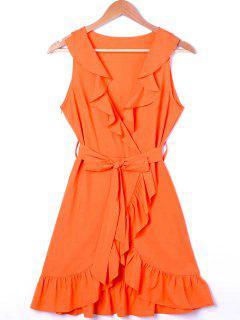 Mini Vestido De Sol Con Escote Cruzado Escotado Con Volantes - Naranja Xl