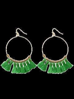 Tassels Cicle Hoop Drop Earrings - Green
