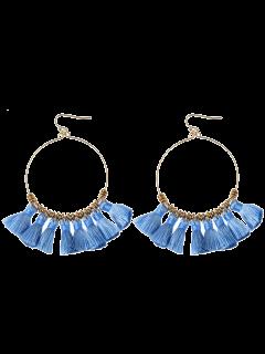 Tassels Cicle Hoop Drop Earrings - Blue