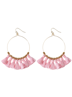 Tassels Cicle Hoop Drop Earrings - Pink