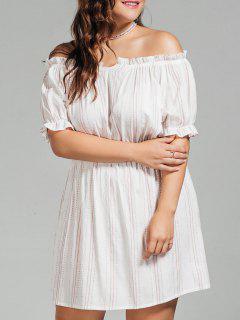 Polka Dot Plus Size Off Shoulder Dress - White 4xl