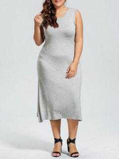 Casual Plus Size Cut Out Dress - Gray 3xl
