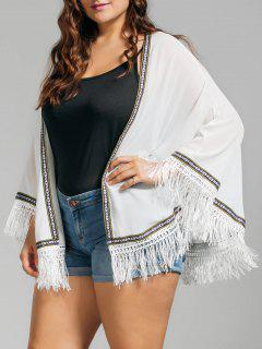 Plus Size Embroidered Fringed Cap Blouse - White