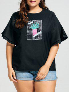 Ruffles Plus Size Cactus Graphic Top - Black 3xl