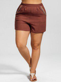 High Waisted Plus Size Embroidered Shorts - Brick-red 3xl