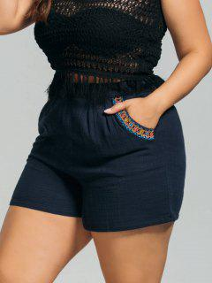High Waisted Plus Size Embroidered Shorts - Purplish Blue 2xl