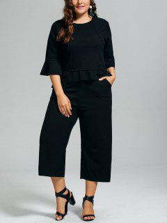 High Low Blouse And Capri Wide Leg Pants Plus Size Suit - Black 4xl