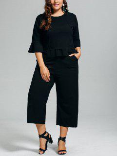 High Low Blouse And Capri Wide Leg Pants Plus Size Suit - Black 2xl