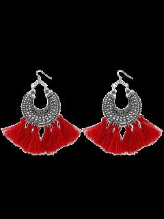 Moon Gypsy Tassel Hook Earrings - Red