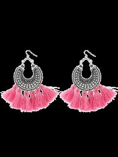 Moon Gypsy Tassel Hook Earrings - Pink