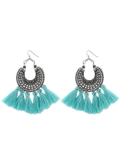 Moon Gypsy Tassel Hook Earrings - Light Blue