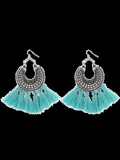 Moon Gypsy Tassel Hook Earrings - Light Blue