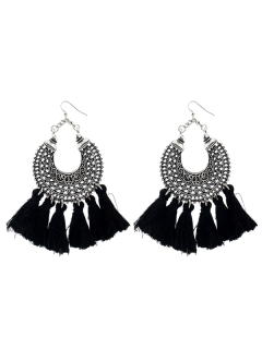 Moon Gypsy Tassel Hook Earrings - Black