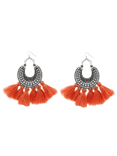 Moon Gypsy Tassel Hook Earrings - Orange