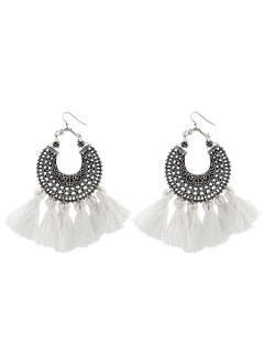 Moon Gypsy Tassel Hook Earrings - White