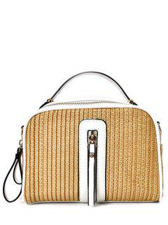 Top Handle Zips Straw Handbag - White