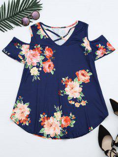 Cold Shoulder Criss Cross Floral Print T-shirt - Deep Blue M