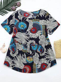 Blusa De Impresión Floral Cuello Redondo - Floral Xl