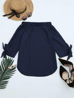 Off The Shoulder Longline Blouse - Cadetblue M
